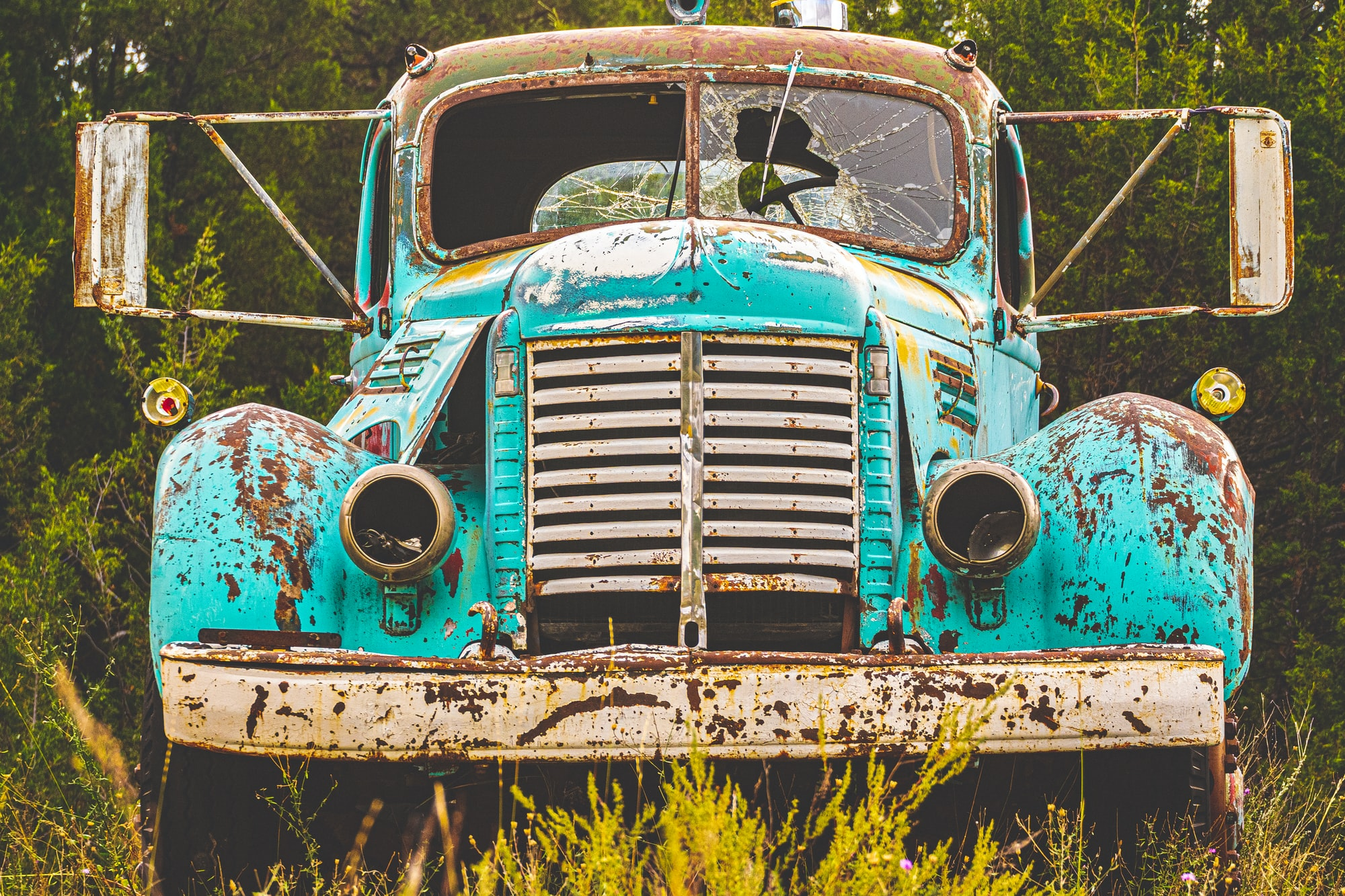 1940's International Harvester KB7 Truck slowly aging in a dry field