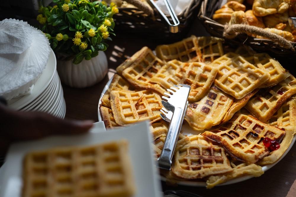 waffle on white ceramic plate