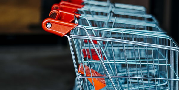 shopping cart on gray floor