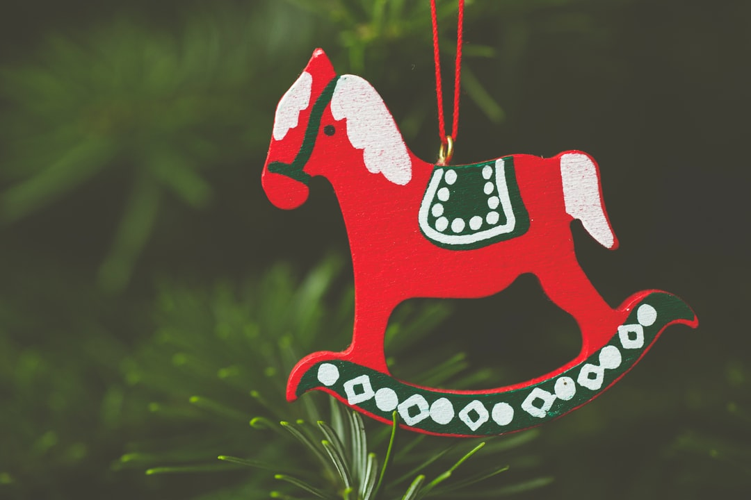 Wooden handcraft christmas tree decoration rocking horse. Made with Canon 5d Mark III and analog vintage lens, Leica APO Macro Elmarit-R 2.8 100mm (Year: 1993)