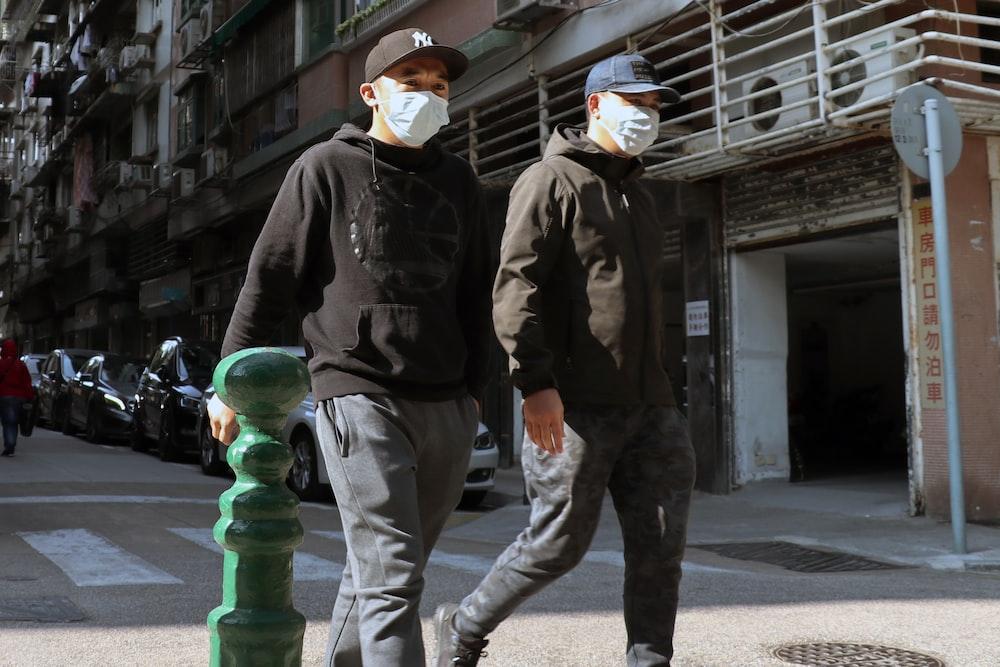 Men wearing masks in Macau during Coronavirus