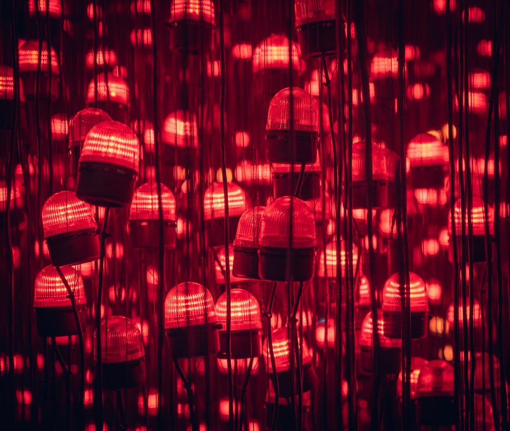 red and orange pendant lamps