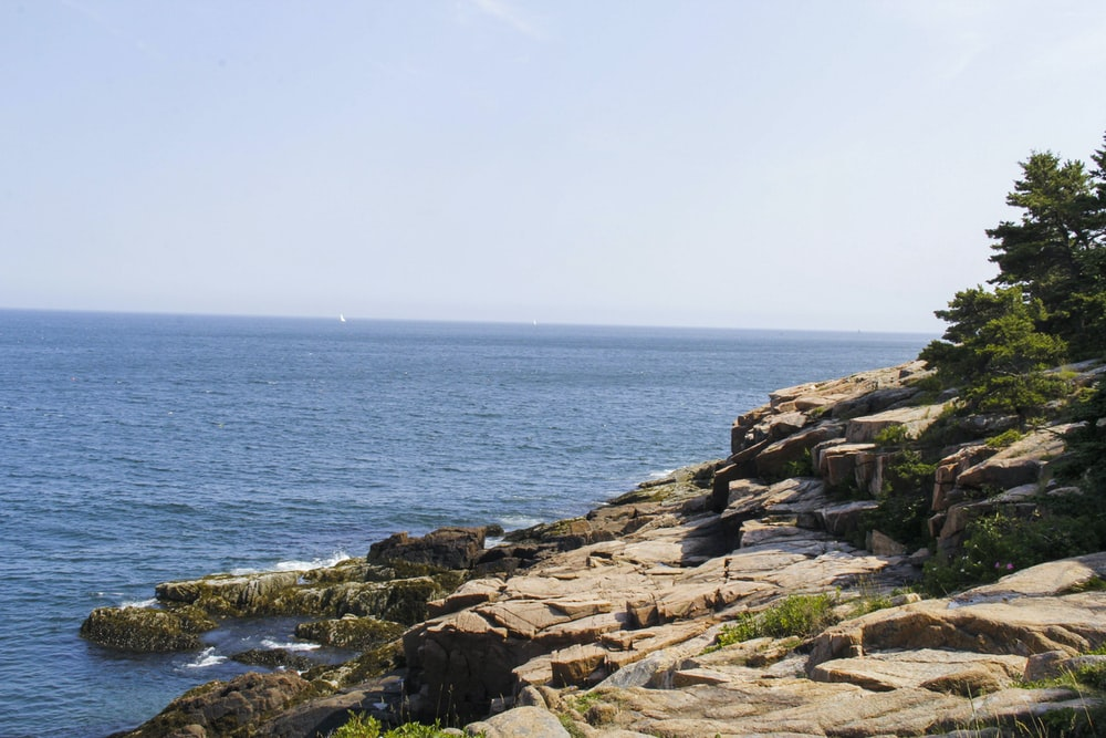 brown rocky shore with blue sea under blue sky during daytime