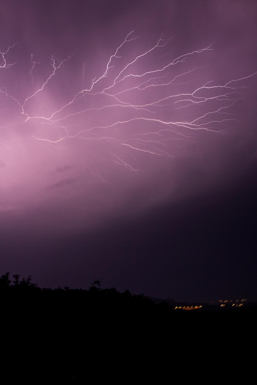 lightning UNK on black sky