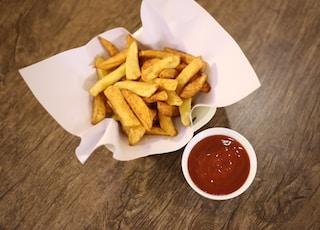 fries on white ceramic plate