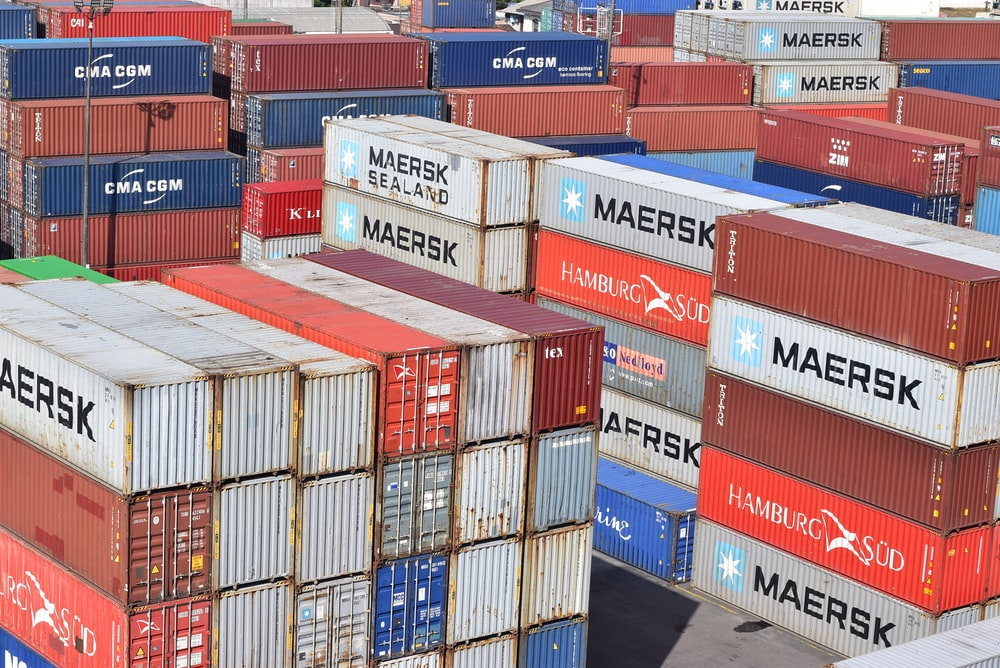 red blue and white intermodal containers