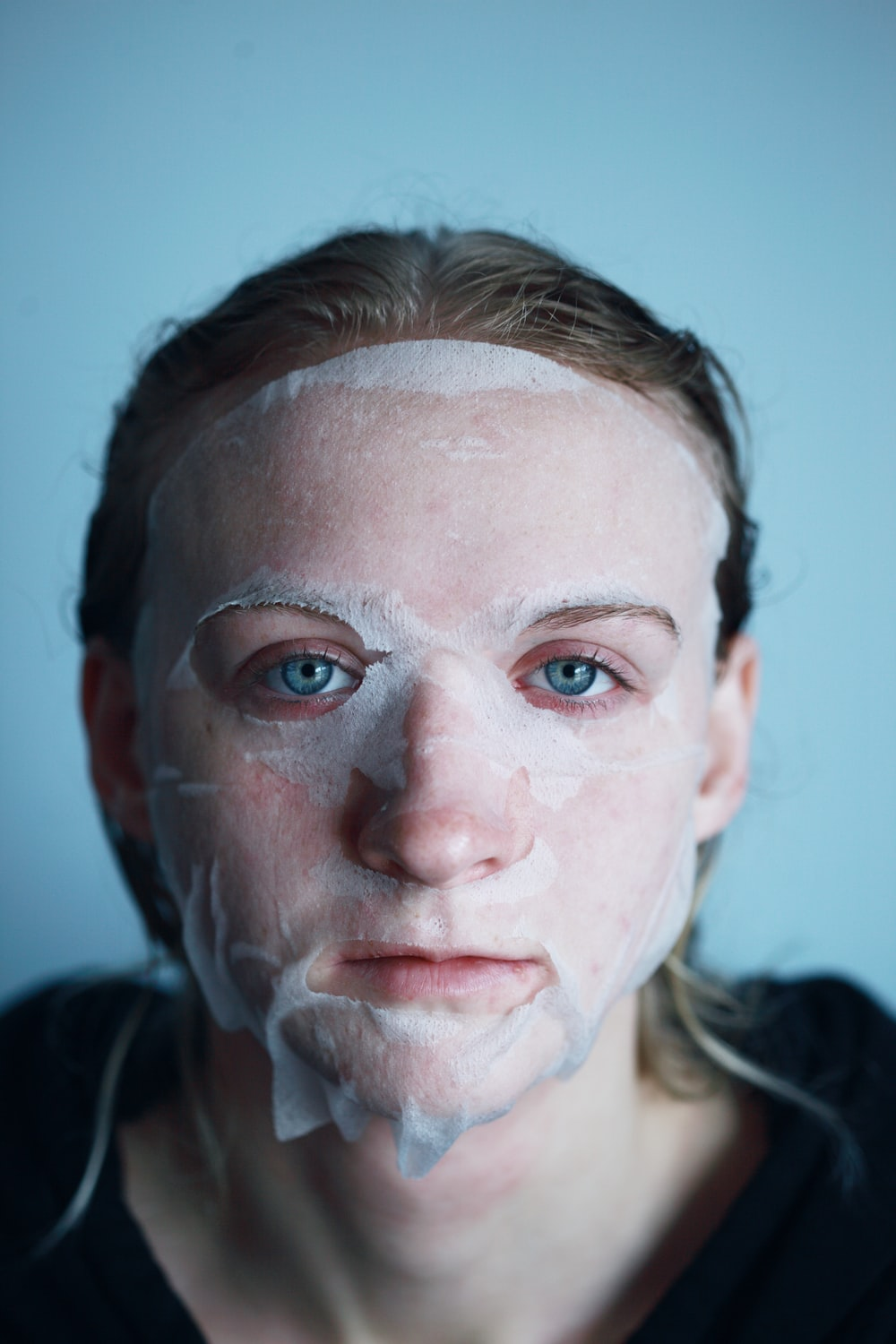 man with white powder on face