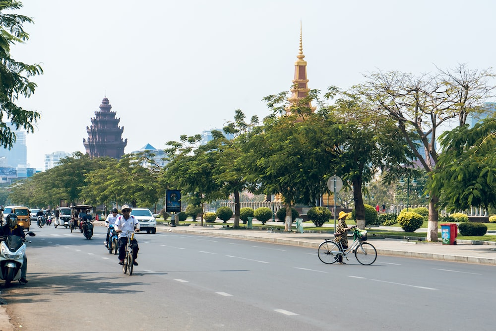 people riding bicycle on road near trees and buildings during daytime