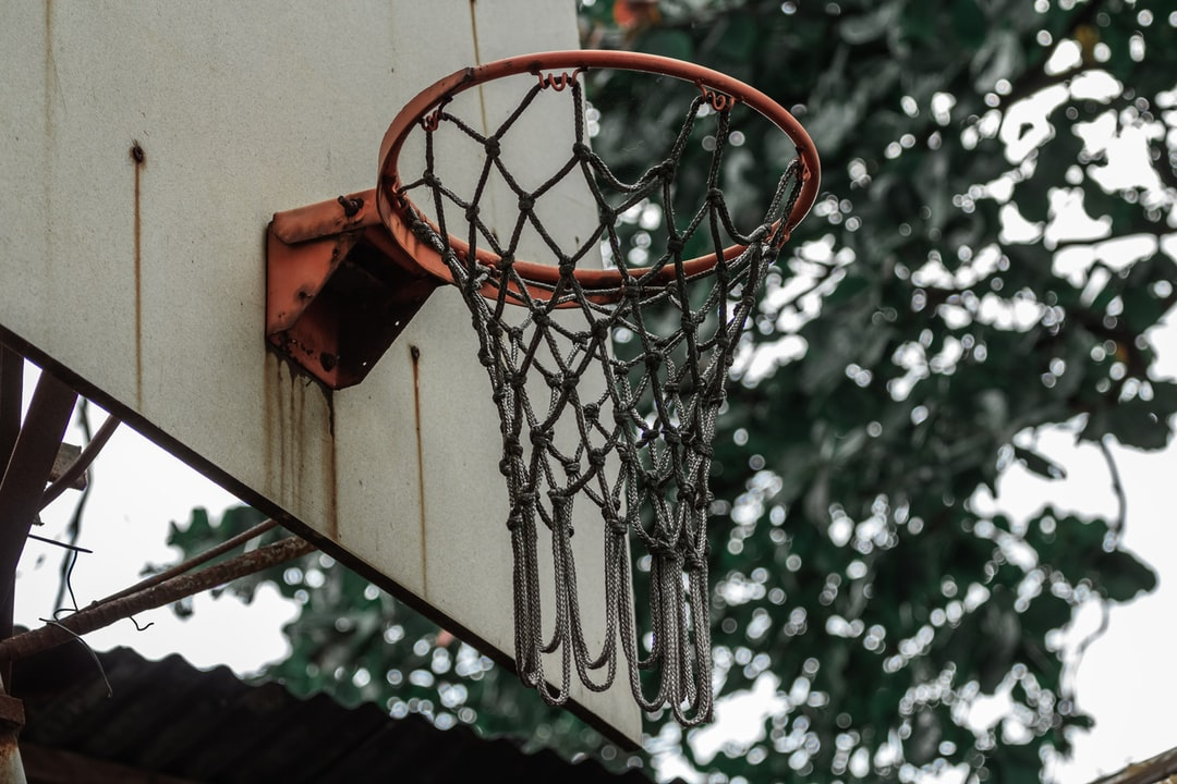 a rusty old basketball hoop