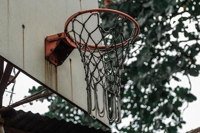 red basketball hoop with white net hoop zoom background