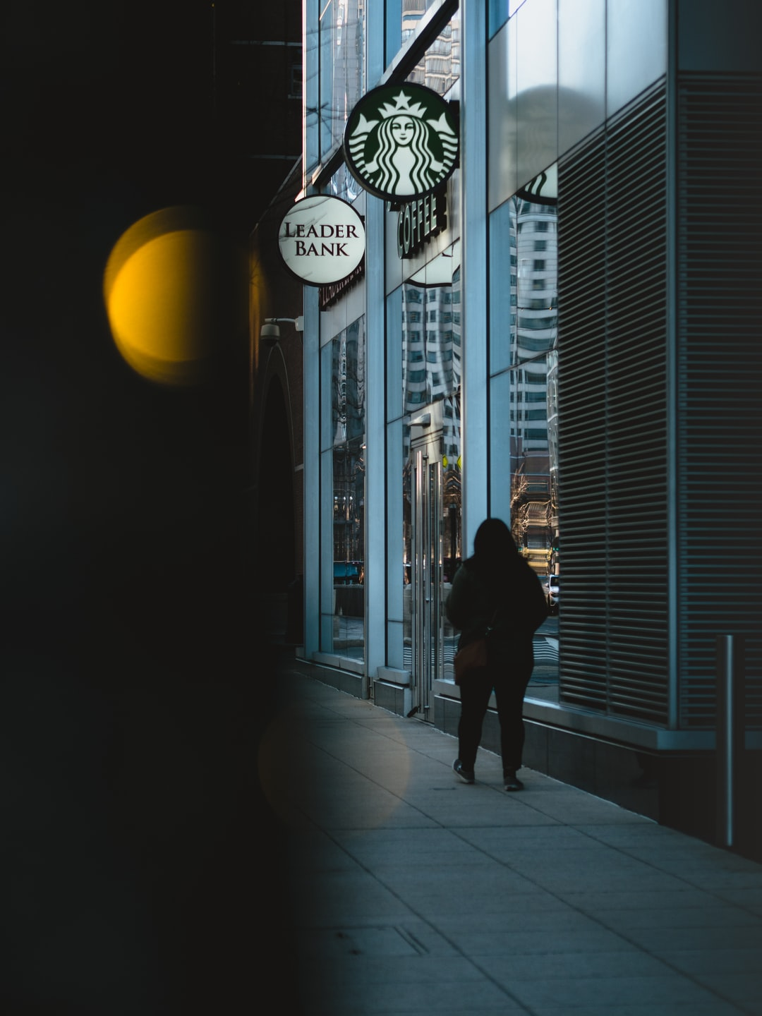 limited frame: person outside a starbucks
