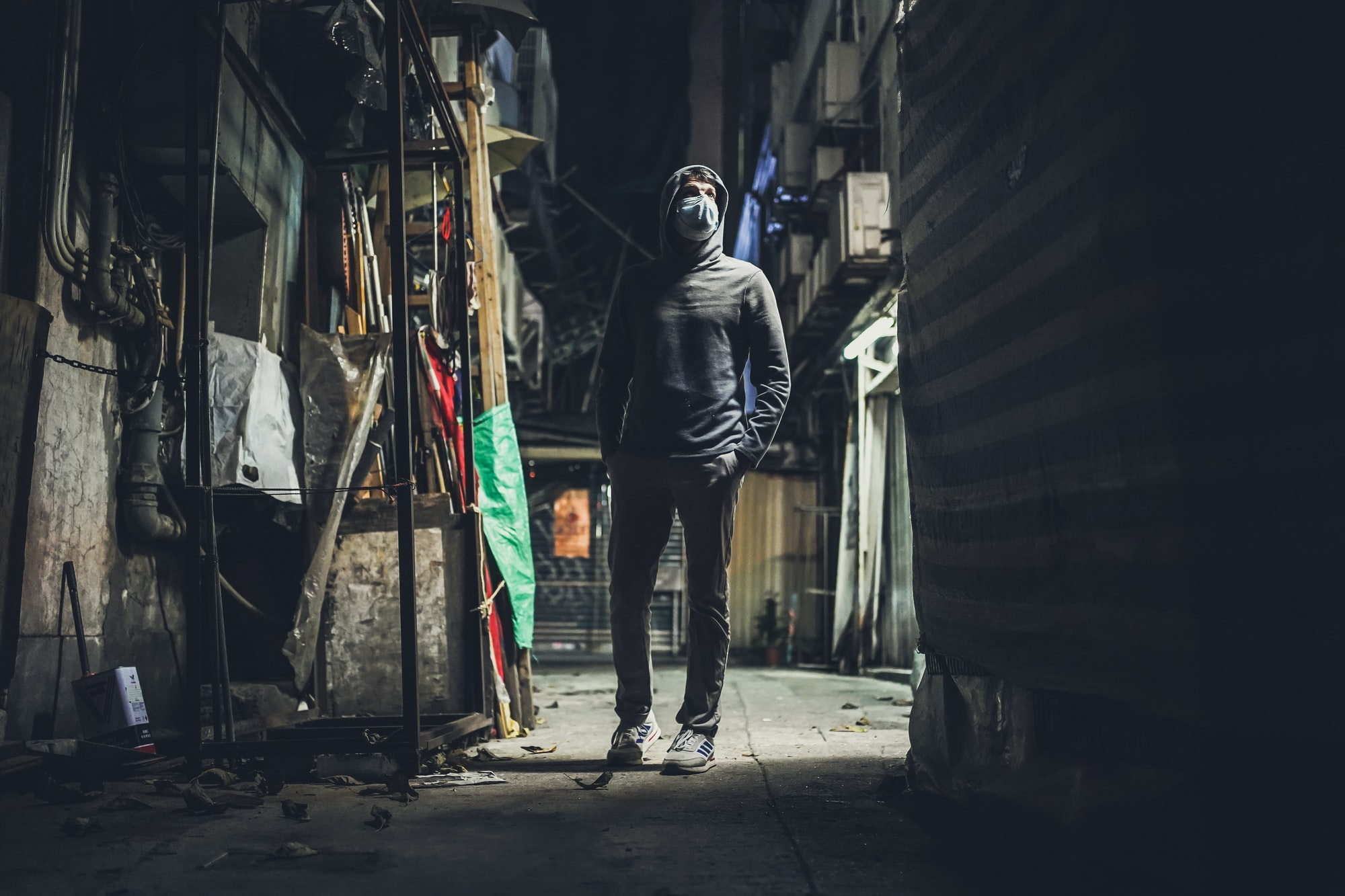 small spooky side alley somewhere in Hong Kong with face mask