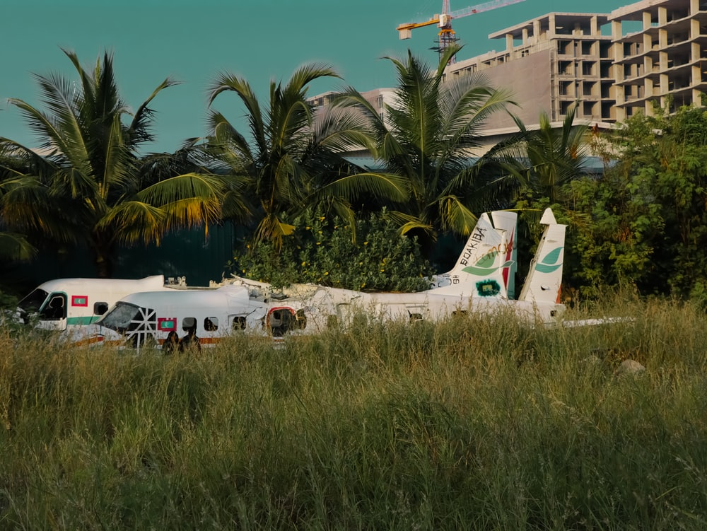 white airplane on green grass field during daytime