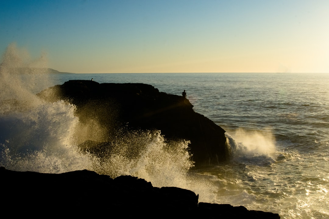 wave, ocean, power, force, splashing, water, drops, fisherman, sunset, atlantic, spume, reflection