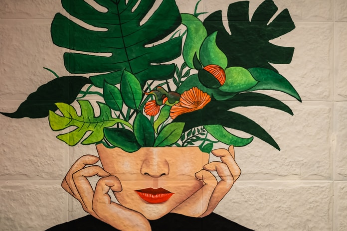 green and red flower painting