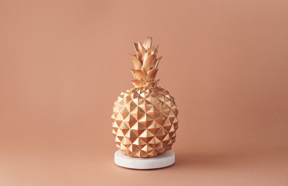 pineapple fruit on white and brown ceramic vase