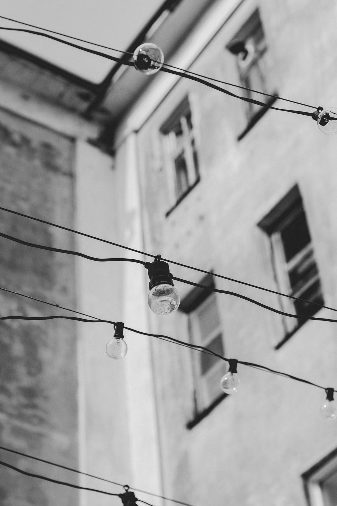 Light bulbs, street photos, black and white.