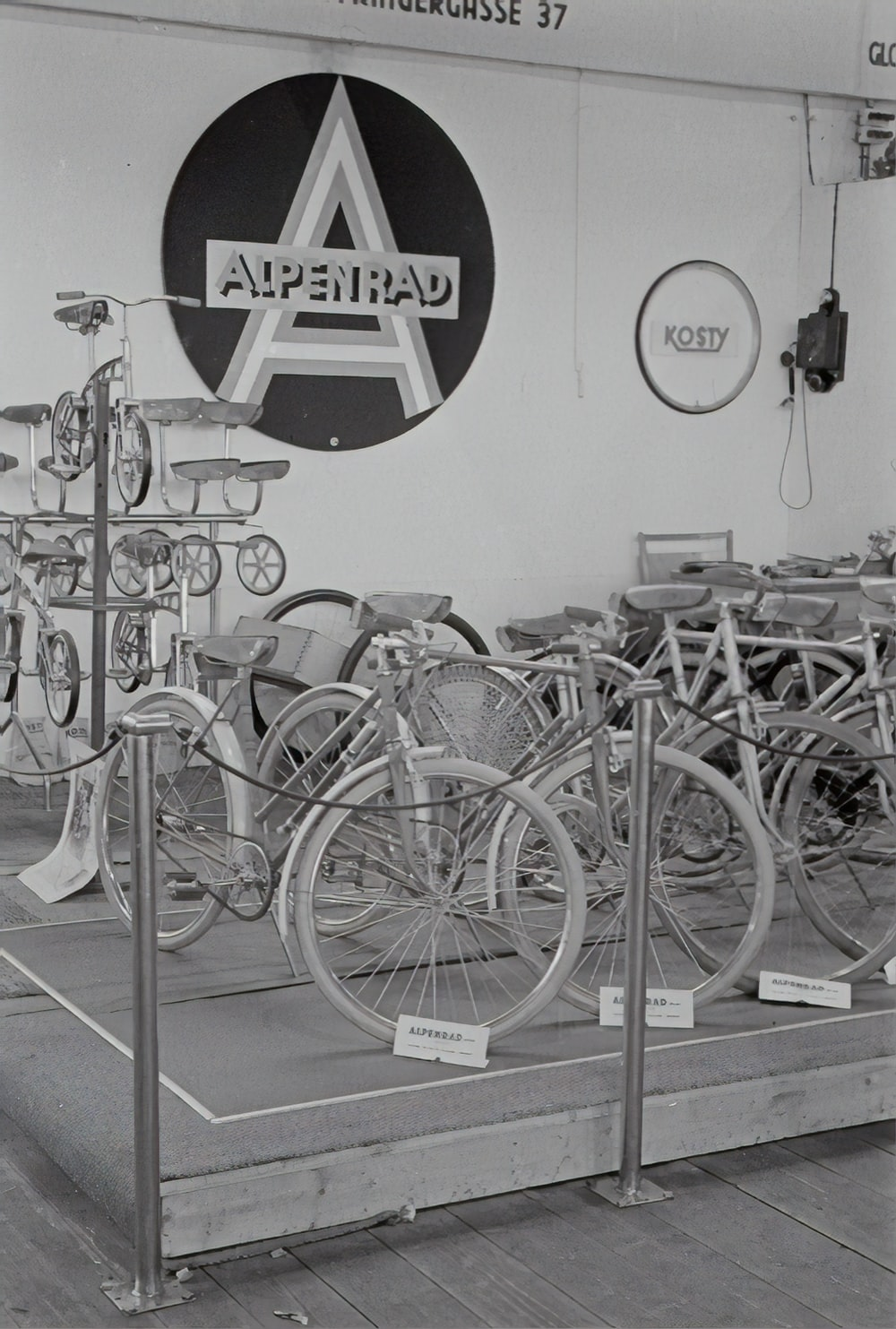 bicycle parked in a room