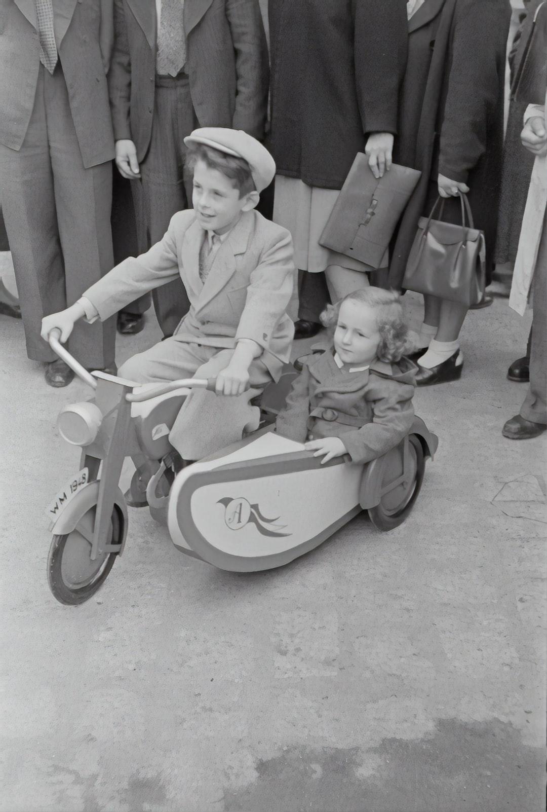 Little boy with sidecar machine.1948