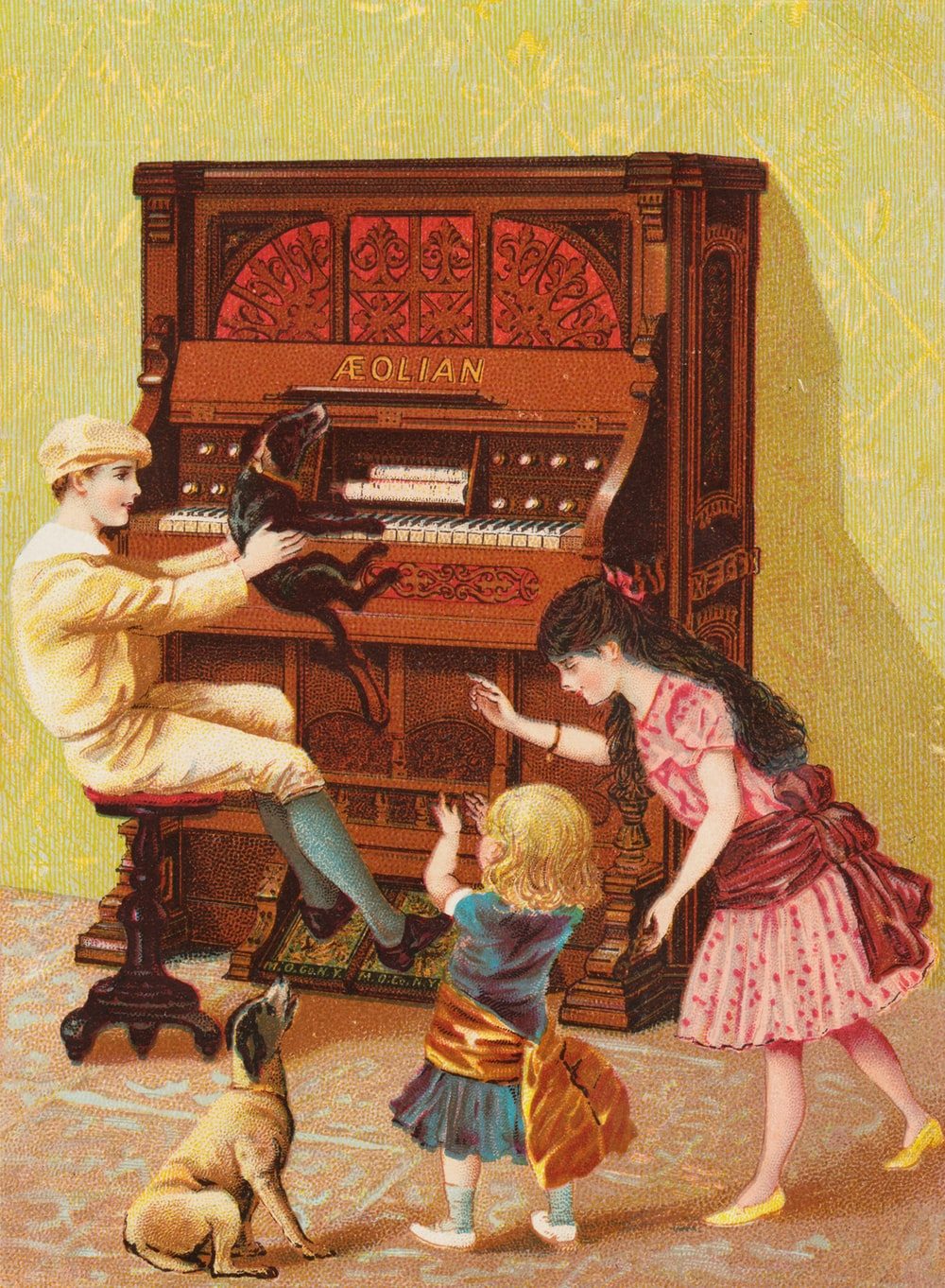 man and woman sitting on chair playing piano painting