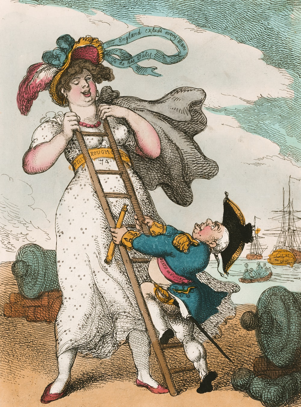 woman in white dress holding brown wooden stick illustration