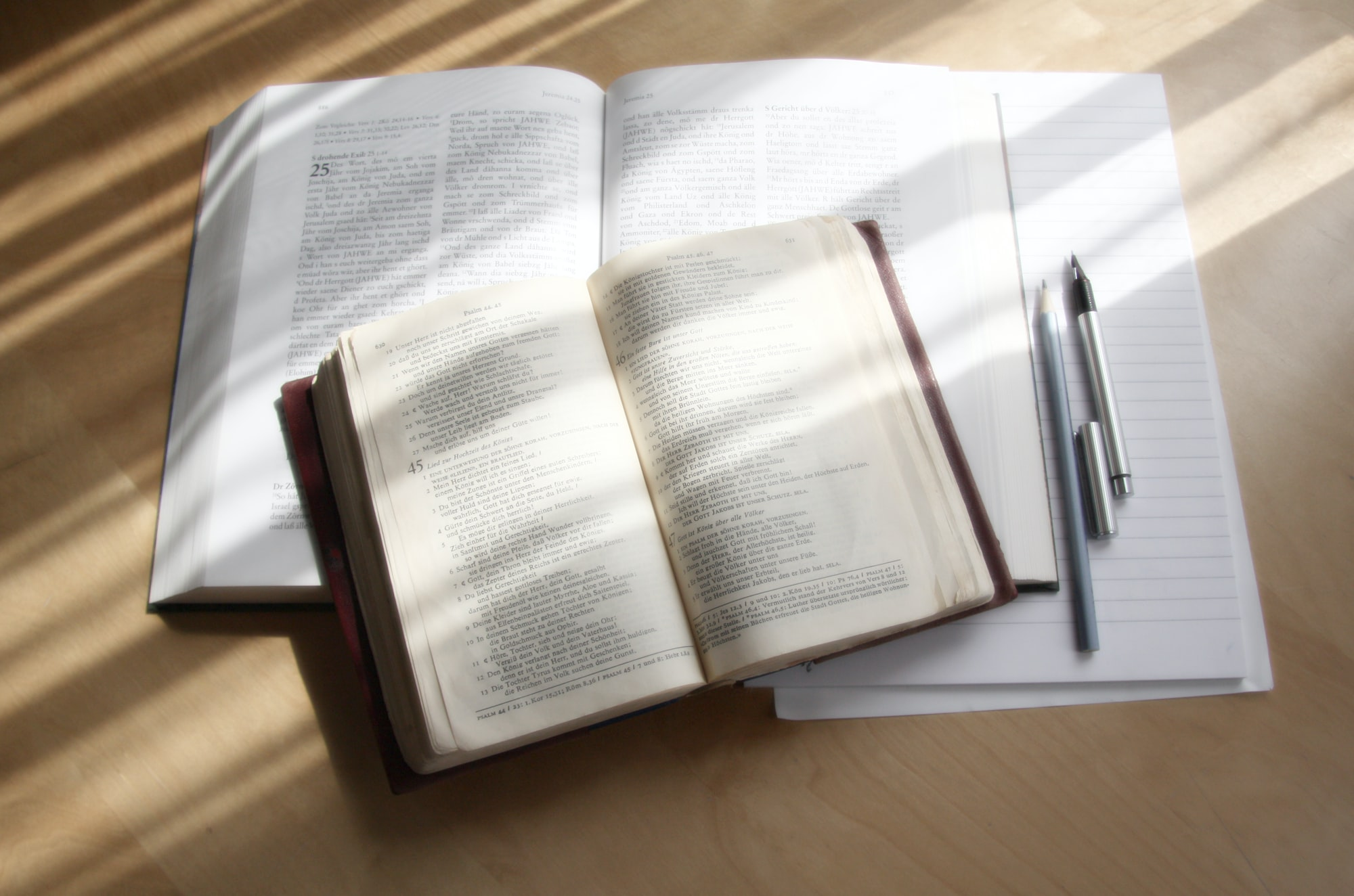 Bible open book, Bible studywith pencils