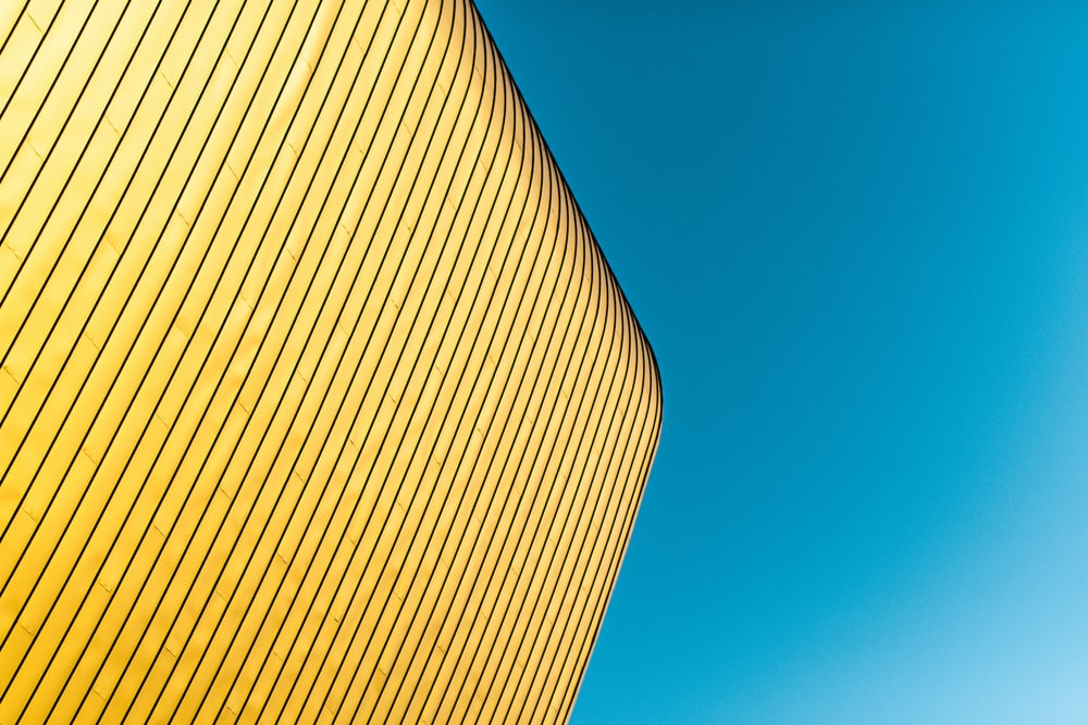 yellow and blue striped building