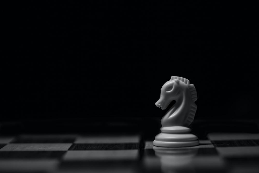 white ceramic animal figurine on black table