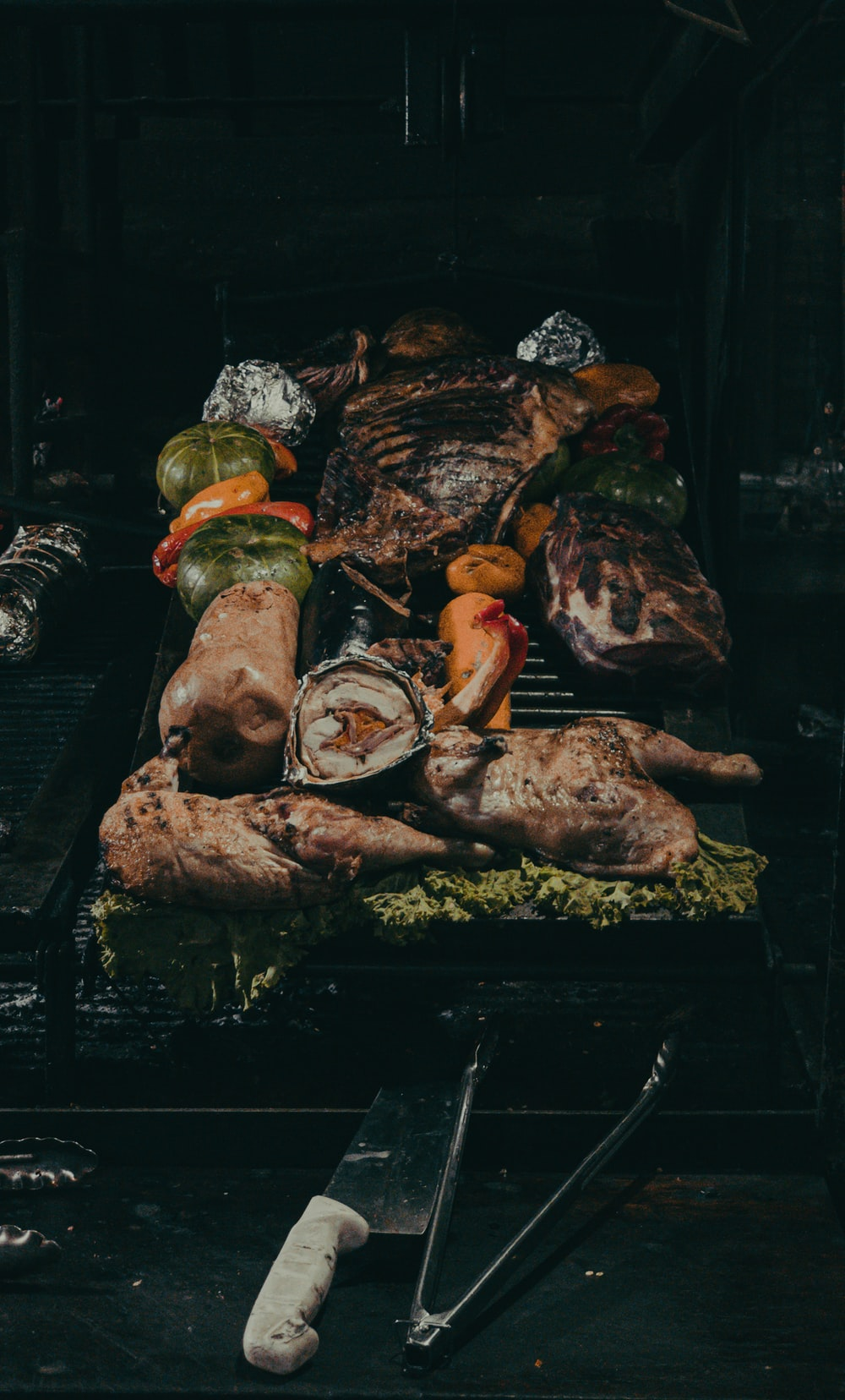 grilled meat on black charcoal grill