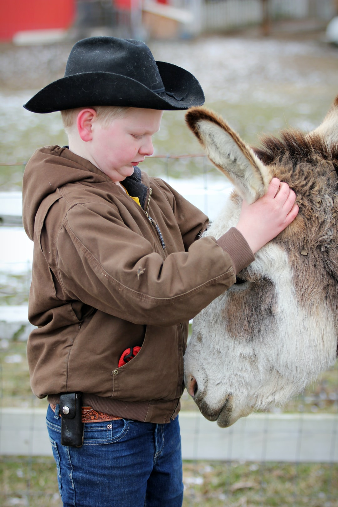 A boy and his donkey... true love.