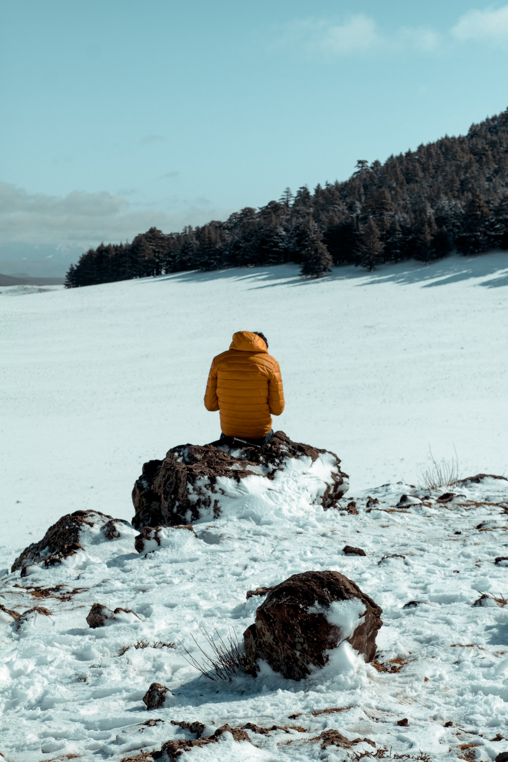 person in yellow jacket sitting on snow covered ground during daytime