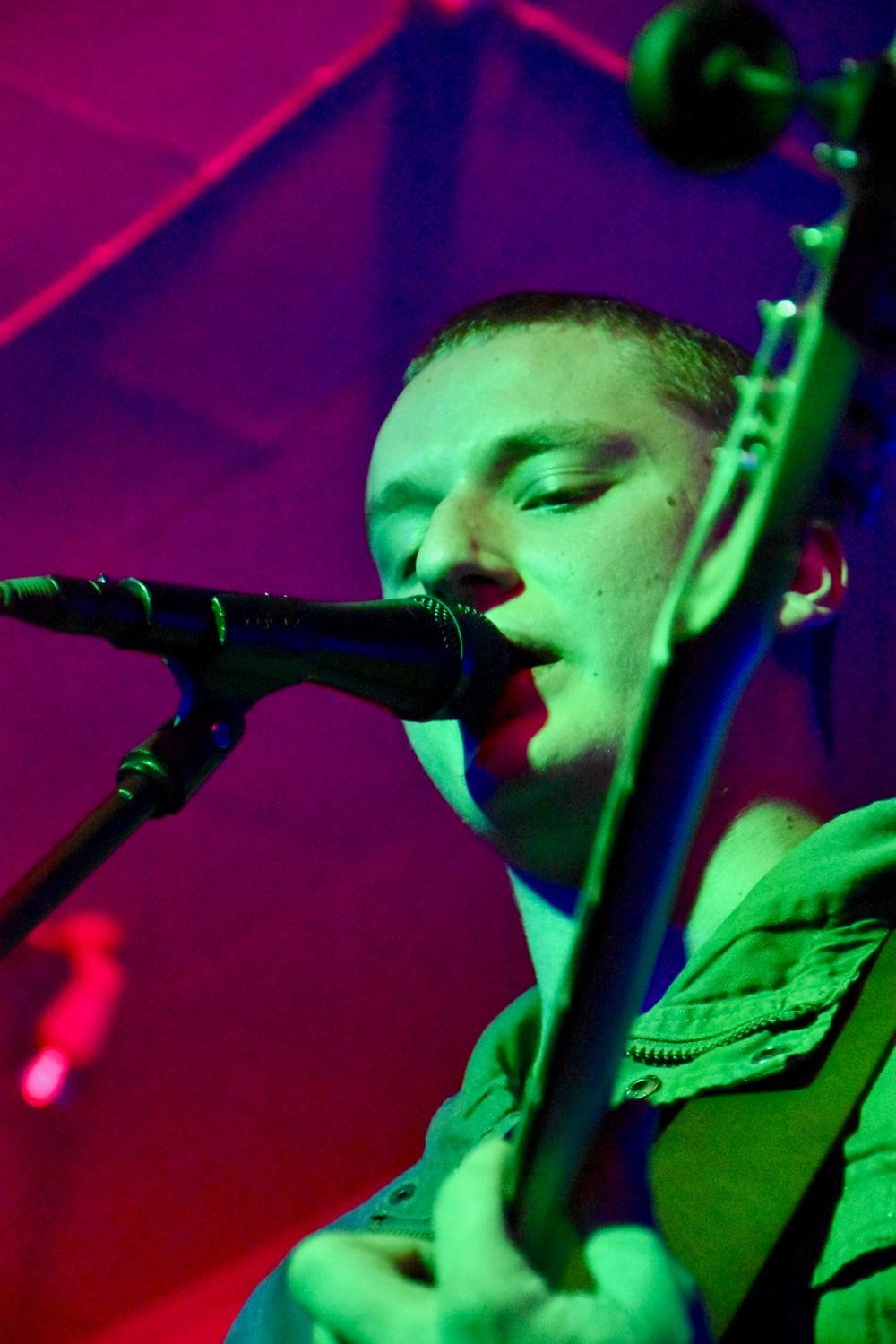 man singing on the stage