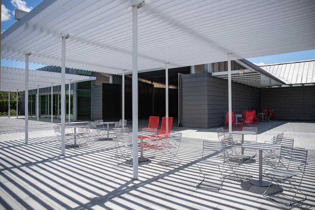Modern outdoor patio with seating at McGovern Centennial Gardens