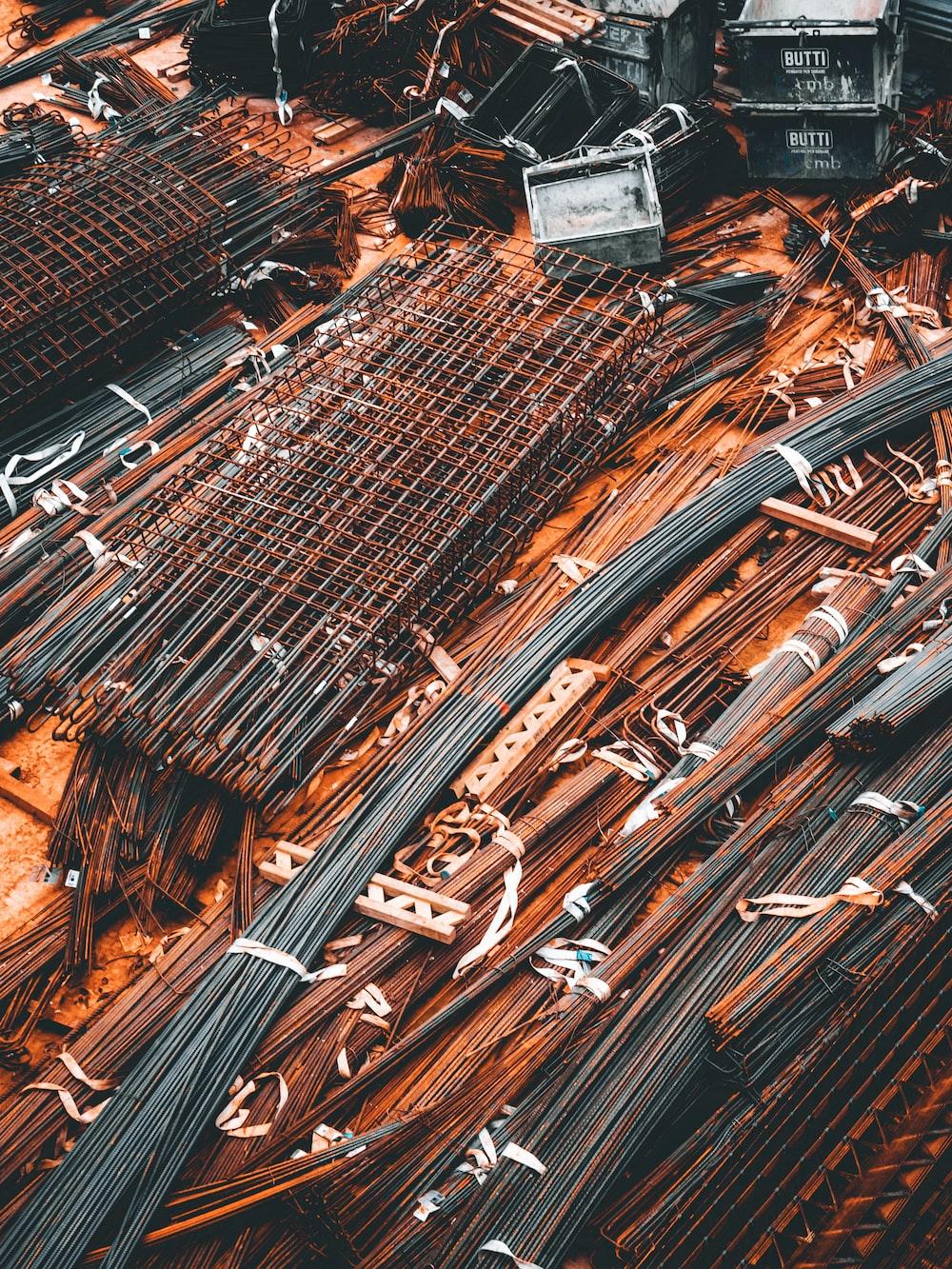 brown and black metal pipe