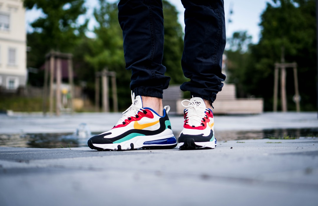 Nike Air Max React 270 Bauhaus Sneaker On-Feet Image - unsplash