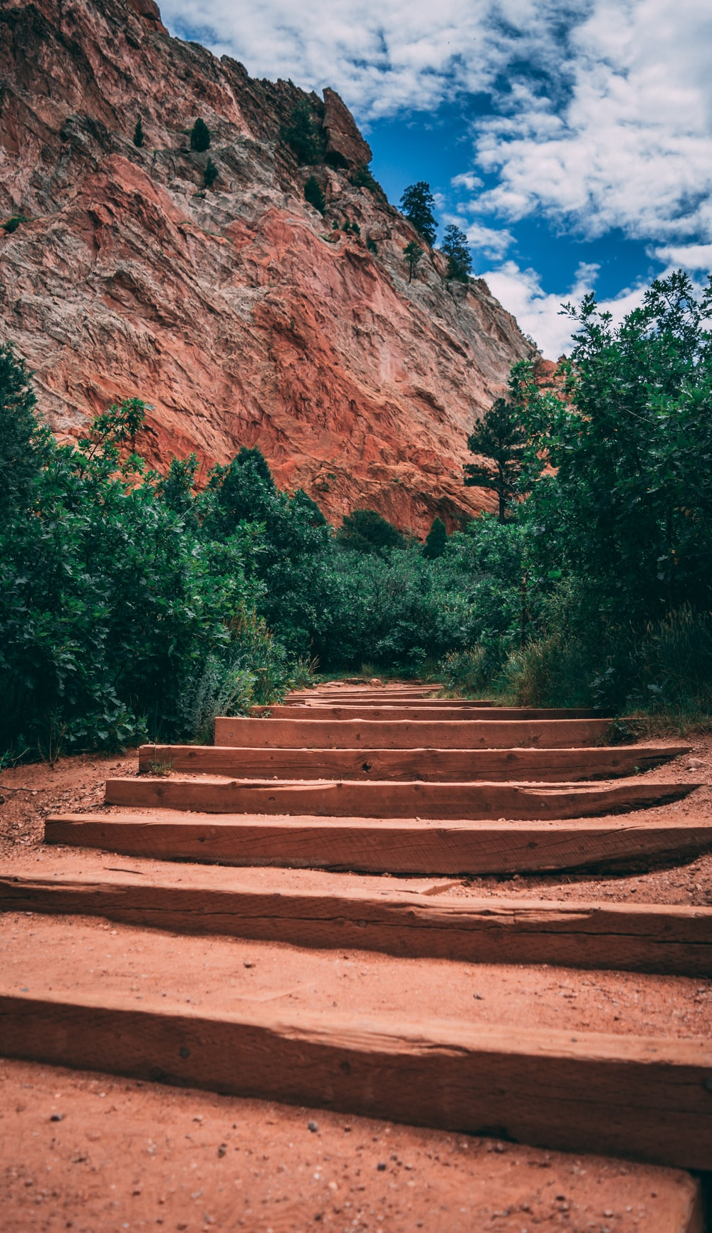brown wooden stairs near brown rock formation during daytime