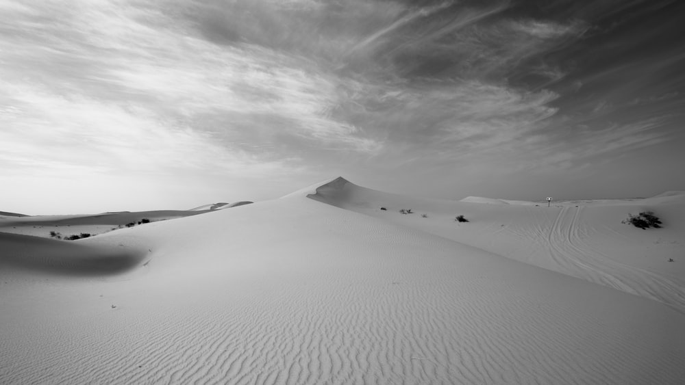 grayscale photo of person walking on desert