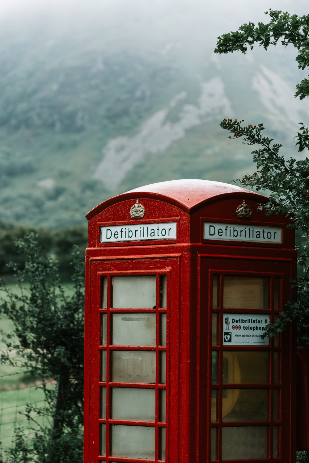 red telephone booth near green tree under white clouds during daytime