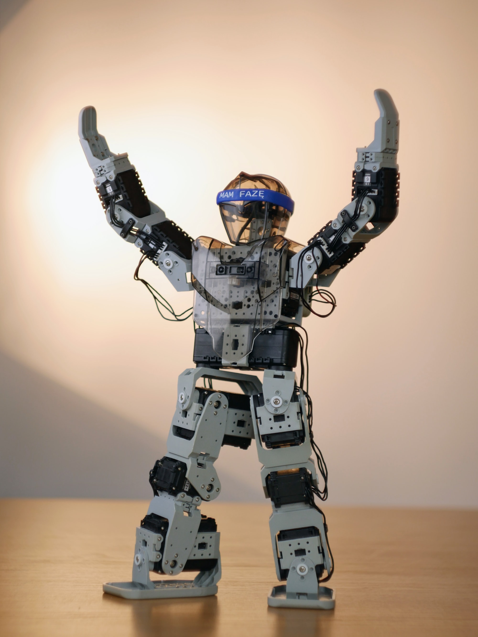 Humanoid robot Robotis Bioloid with the hands in the air, cheering.