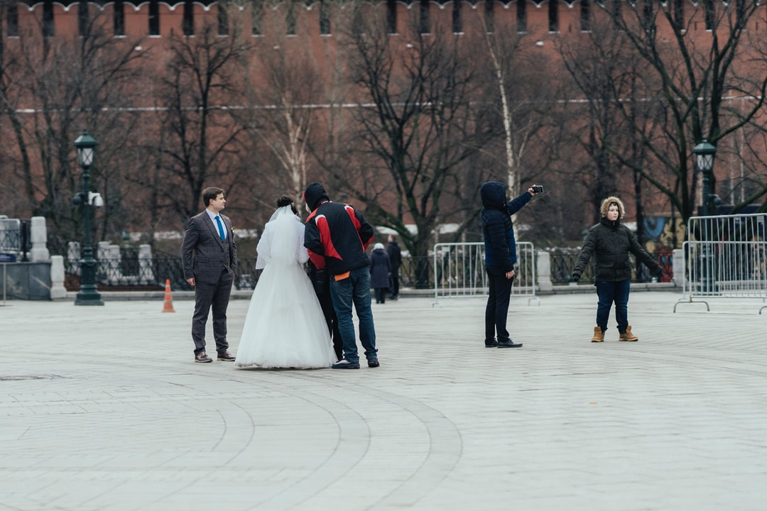Wedding photographers in the streets of Moscow