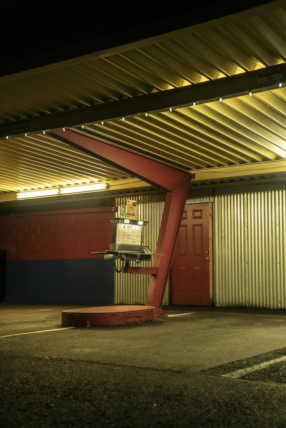 red and white garage door