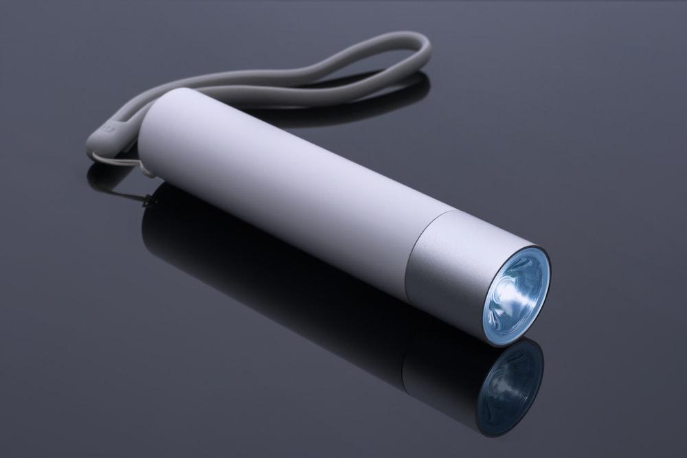 white and blue light bulb