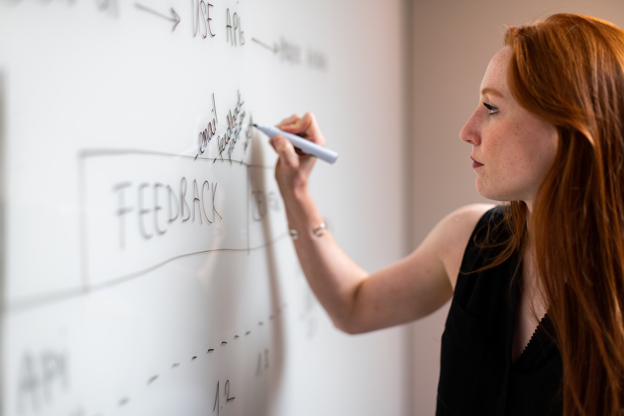 Young woman writing on whiteboard, outlinging software development user feedback loops.