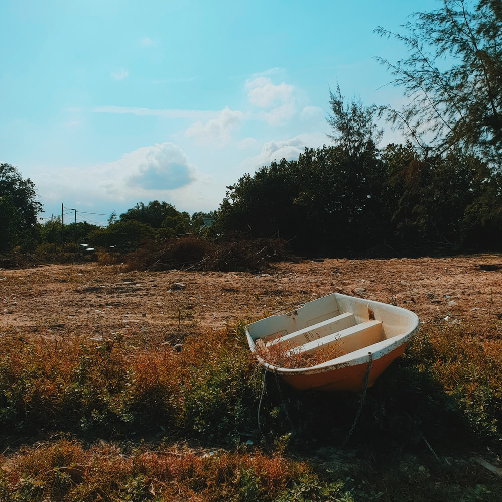 white boat on brown grass field during daytime