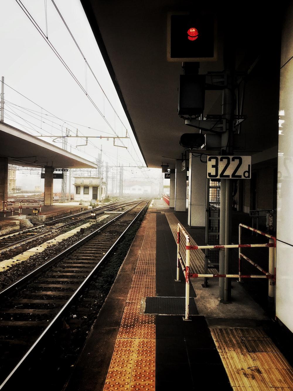 train rail in train station