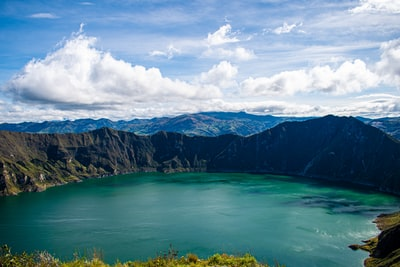 green lake near mountain under blue sky during daytime ecuador zoom background