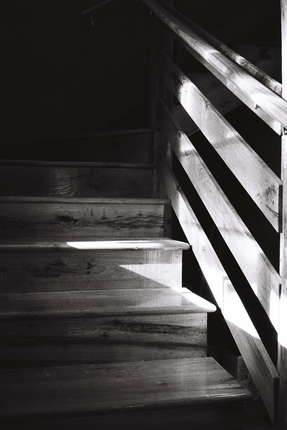grayscale photo of concrete staircase