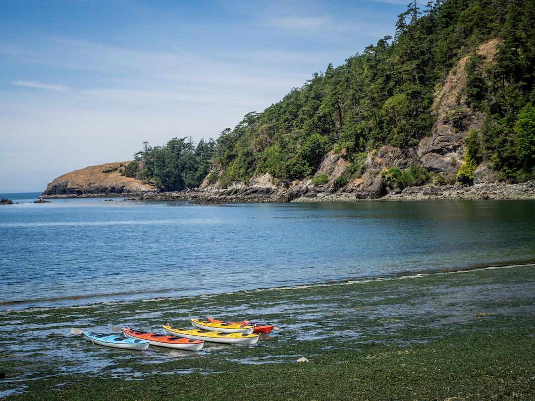 Kayaks near Deception Pass in Washington state