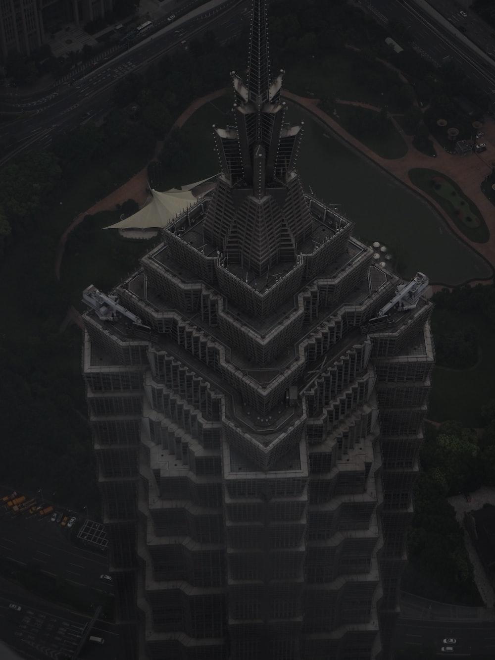 gray and black concrete building