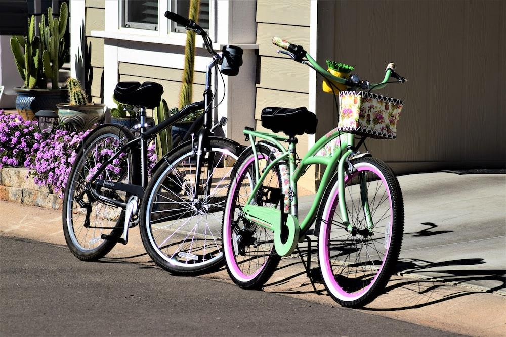 pink and black city bike